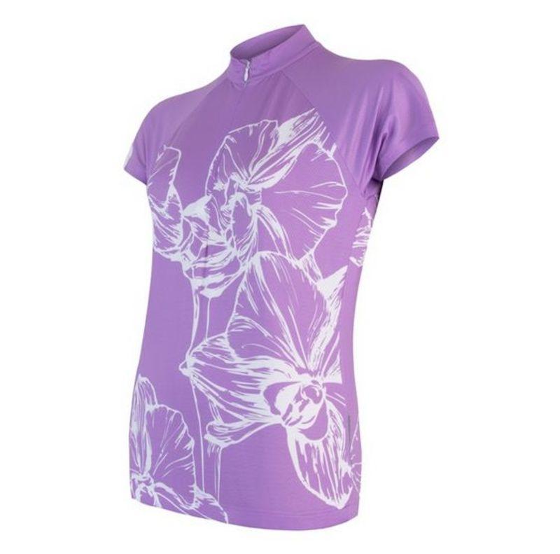 Dámsky dres Sensor Cyklo Flowers kr.rukáv fialová 18100071
