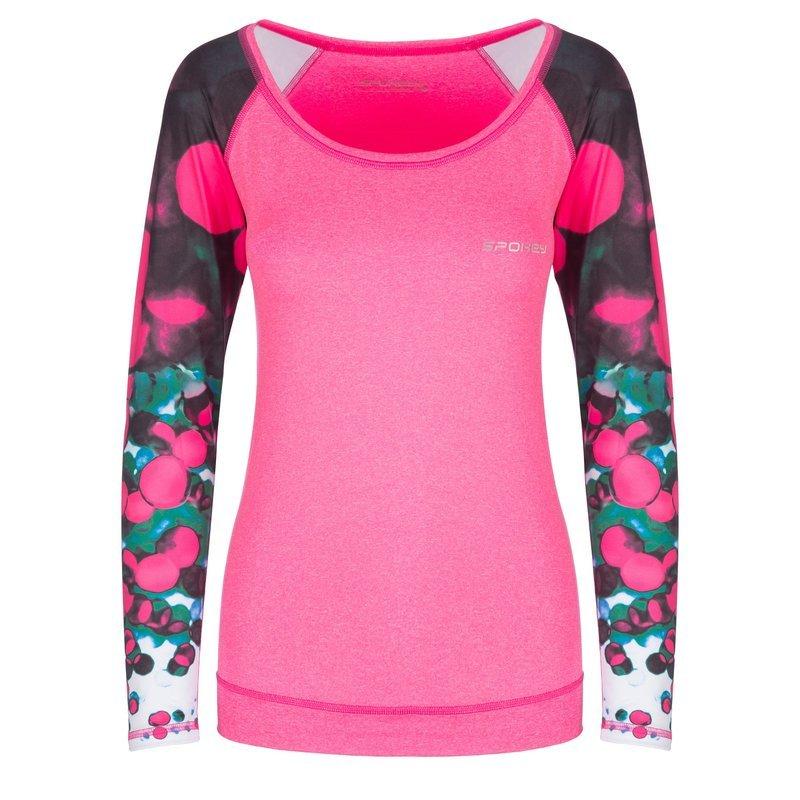 Spokey fitness triko dlhý rukáv BALLS ružové M