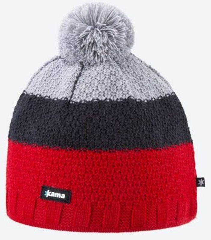 Pletená Merino čiapka Kama A126 104 červená
