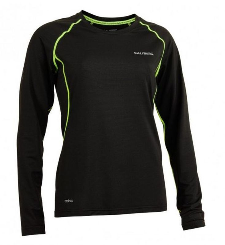 Dámske triko Salming Balance LS Tee Women Black / Sharp Lime M