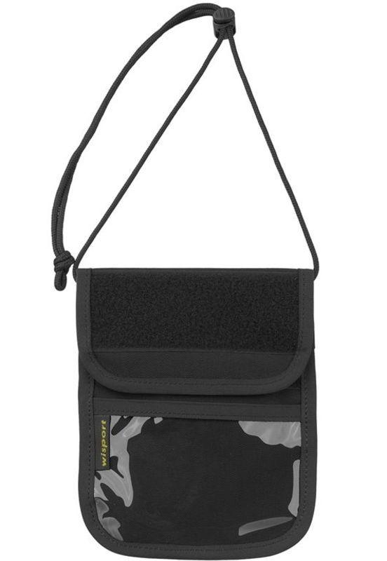 Púzdro na doklady - peňaženka na krk Wisport® Patrol - čierne