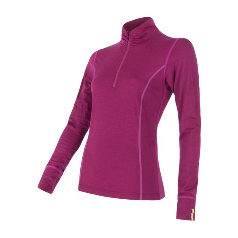 Dámske triko sa stojačikom na zips Sensor Merino Wool Active lila 12110030 S