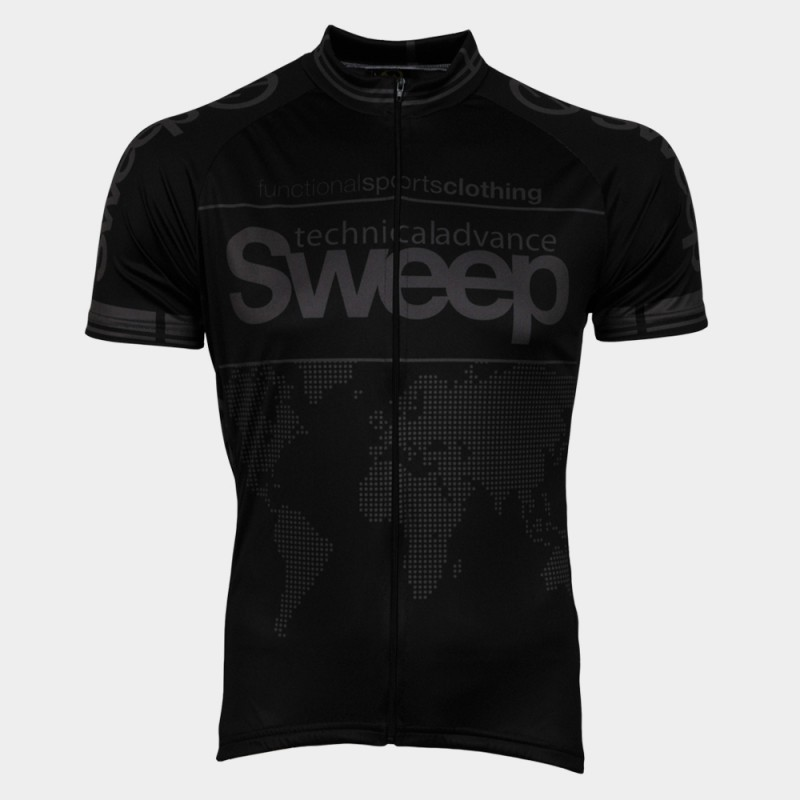 Cyklistický dres Sweep Classic D002 - čierna / šedá