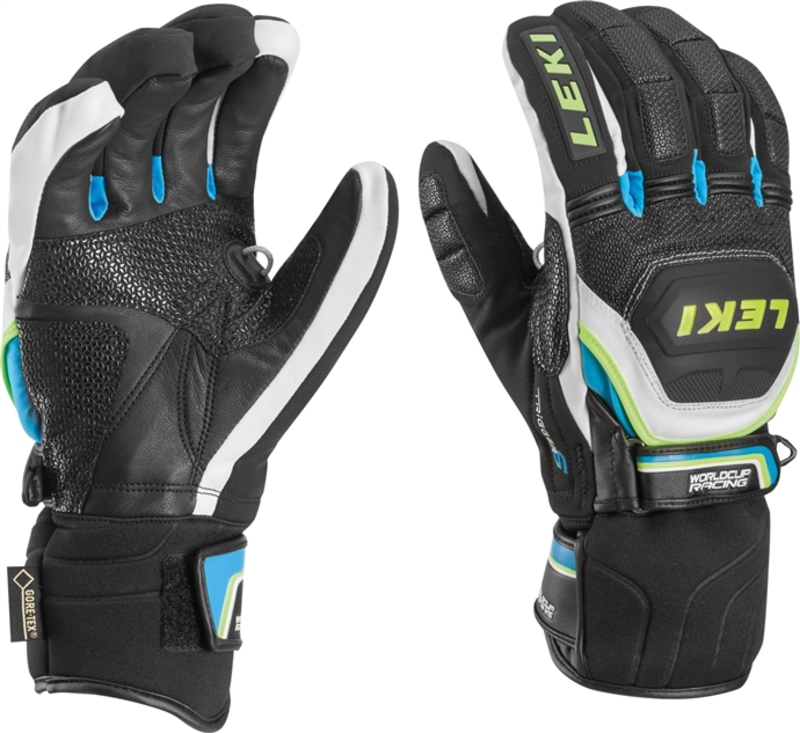 Rukavice LEKI Worldcup Race Coach Flex S GTX black-white-cyan-yellow 634-80133