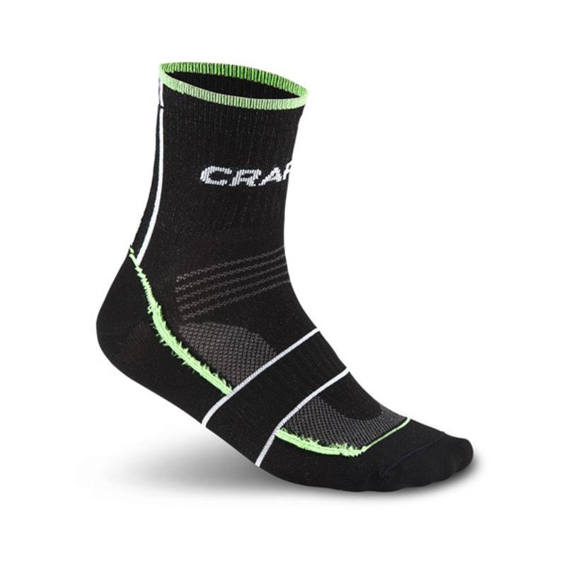Ponožky CRAFT Grand Tour Bike 1902618-9810 - čierna sa zelenou