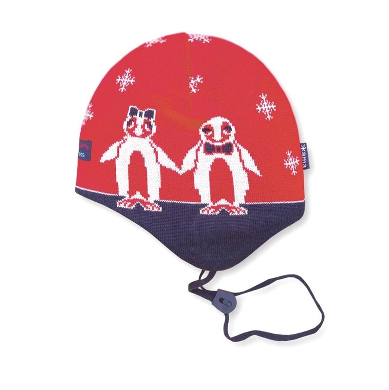 Detská pletená čiapka Kama B51 104 červená