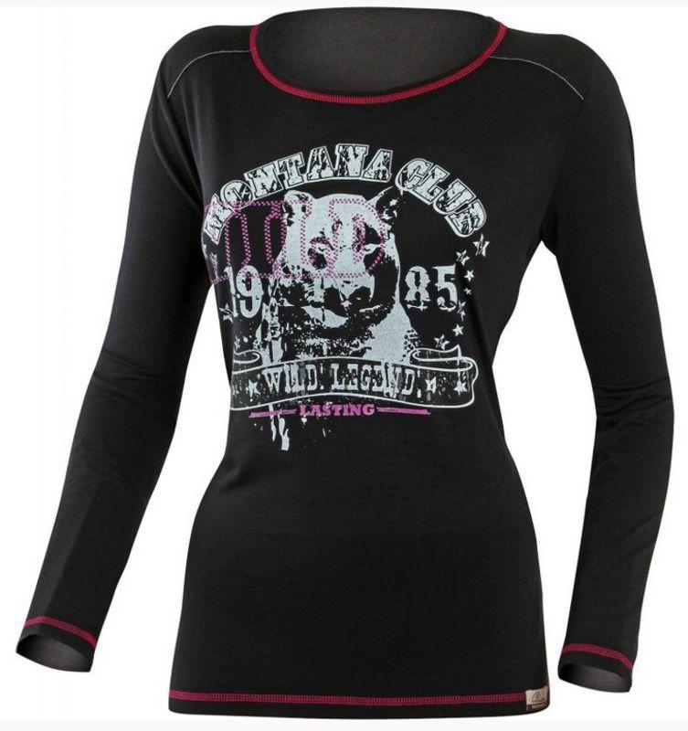 Dámske vlnené triko Lasting Marina 9090 čierna M