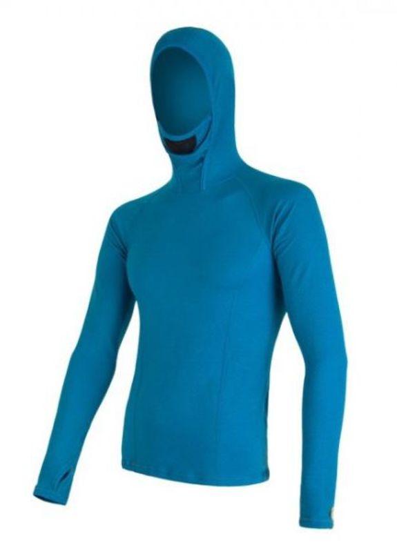 Pánske triko s kapucňou Sensor MERINO DOUBLE FACE modré 16200085 M