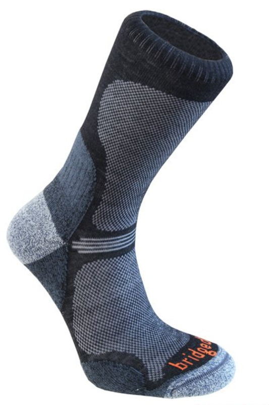 Ponožky Bridgedale Hike Ultra Light T2 Merino Performance Crew black/845 M (5-6,5)