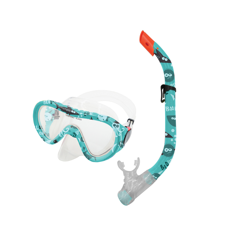 Sada okuliare + šnorchel TAHITI JUNIOR zelený vodný svet