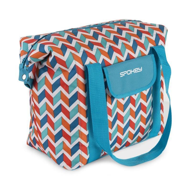 Plážová termo taška Spokey SAN REMO modrá zigzag, 52 x 20 x 40 cm