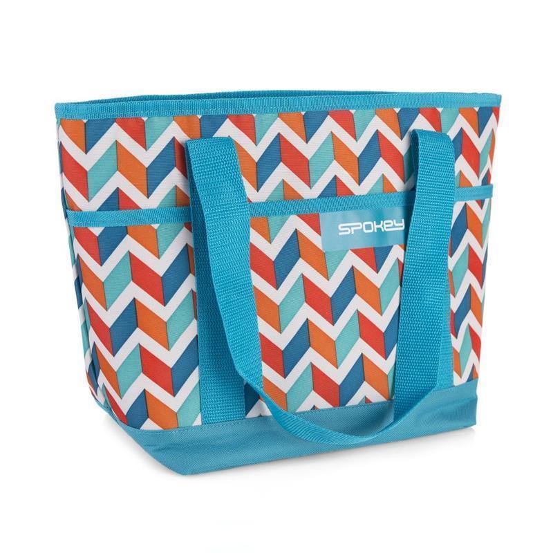 Plážová termo taška Spokey ACAPULCO modrá zigzag, 39 x 15 x 27 cm