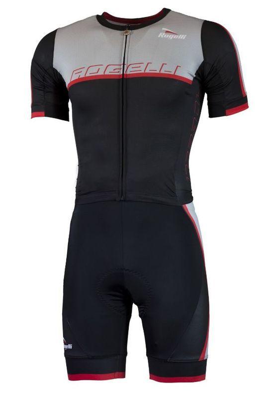 celoprepínací cyklistická kombinéza Rogelli FUTURO s krátkym rukávom, čierno - šedo - červená 001.701.