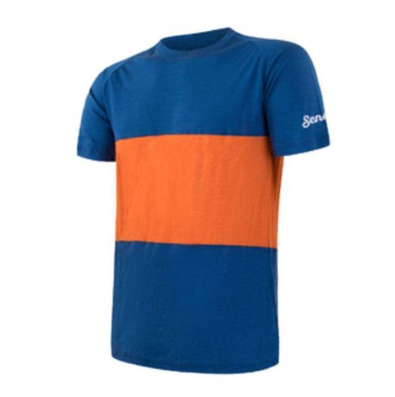 Pánske triko Sensor MERINO AIR PT kr.rukáv modrá / oranžová 18100007
