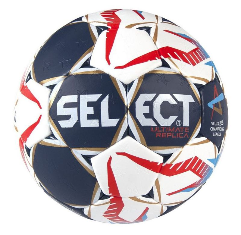 Hádzanárska lopta Select HB Ultimate Replica Champions League Men bielo červená