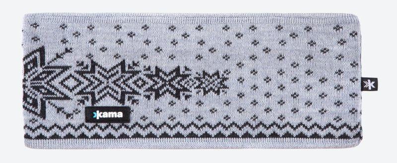 Pletená Merino čelenka Kama C41 109 svetlo sivá