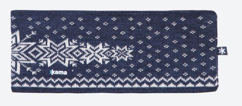 Pletená Merino čelenka Kama C41 108 tmavo modrá