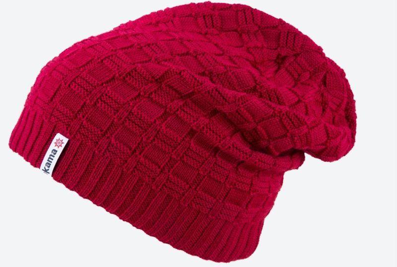 Pletená Merino čiapka Kama A123 104 červená