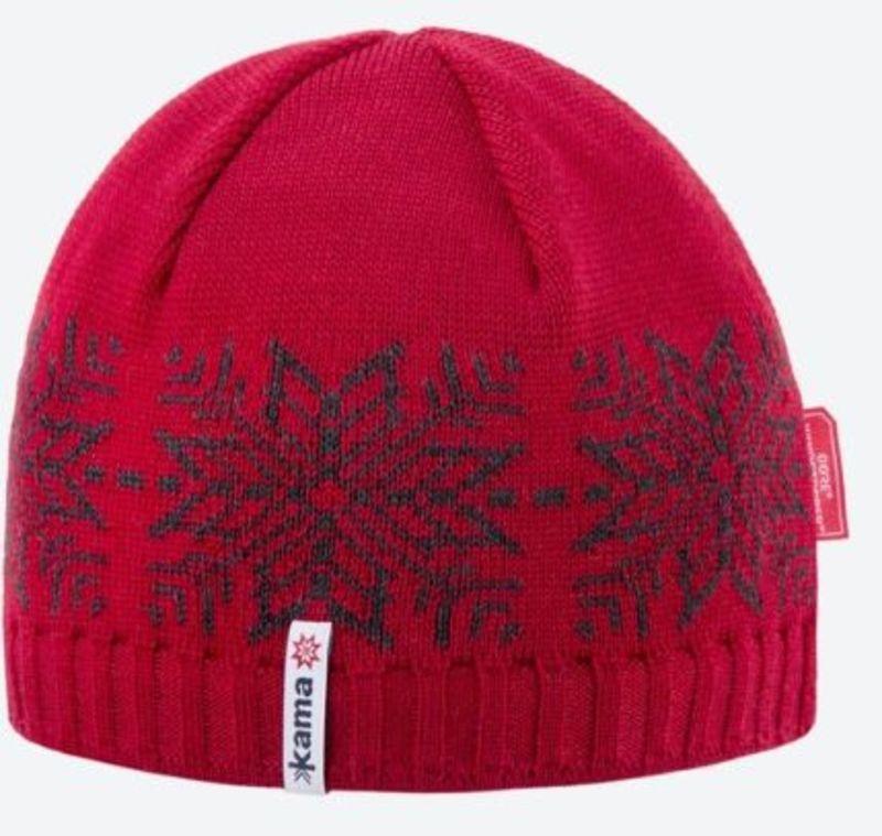 Pletená Merino čiapka Kama AW64 104 červená M
