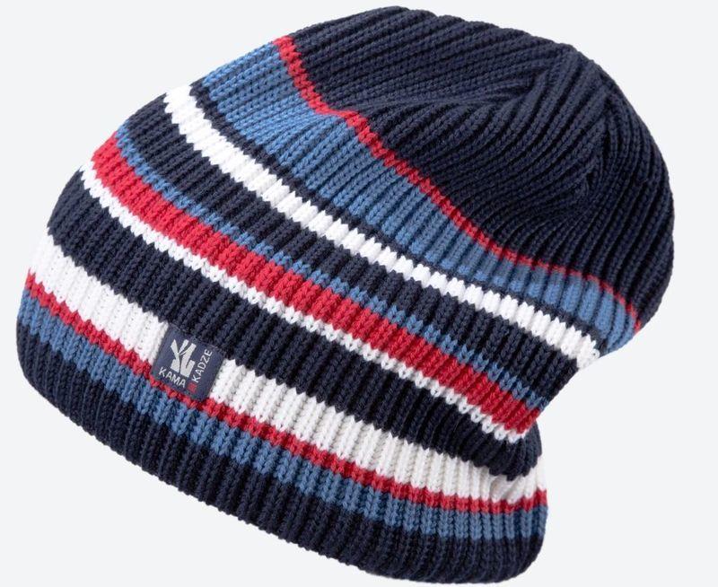 Pletená Merino čiapka Kama K58 108 tmavo modrá