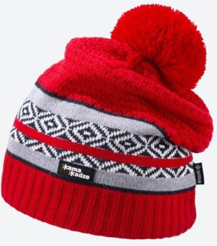 Pletená Merino čiapka Kama KW06 104 červená M