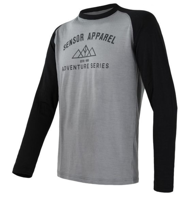 Pánske triko Sensor Merino DF Adventure dl.rukáv sivá / čierna 19100007 L