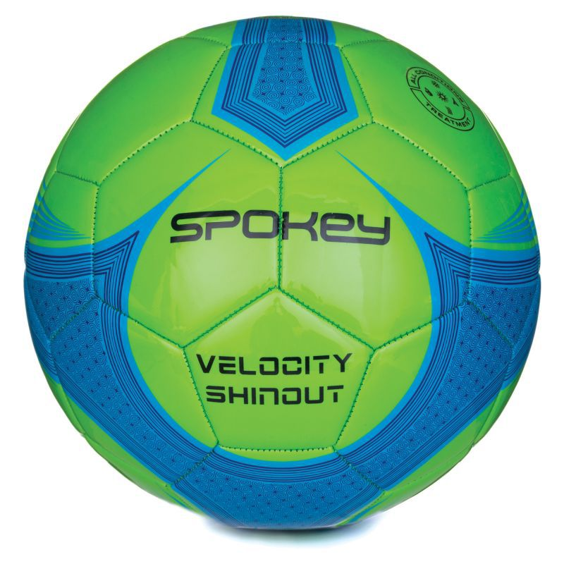 Futbalový lopta Spokey VELOCITY SHINOUT zelená-modrá č.5