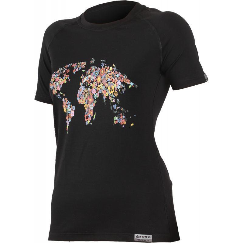 Tričko Lasting FLOWER 9090 čierne vlnené XL