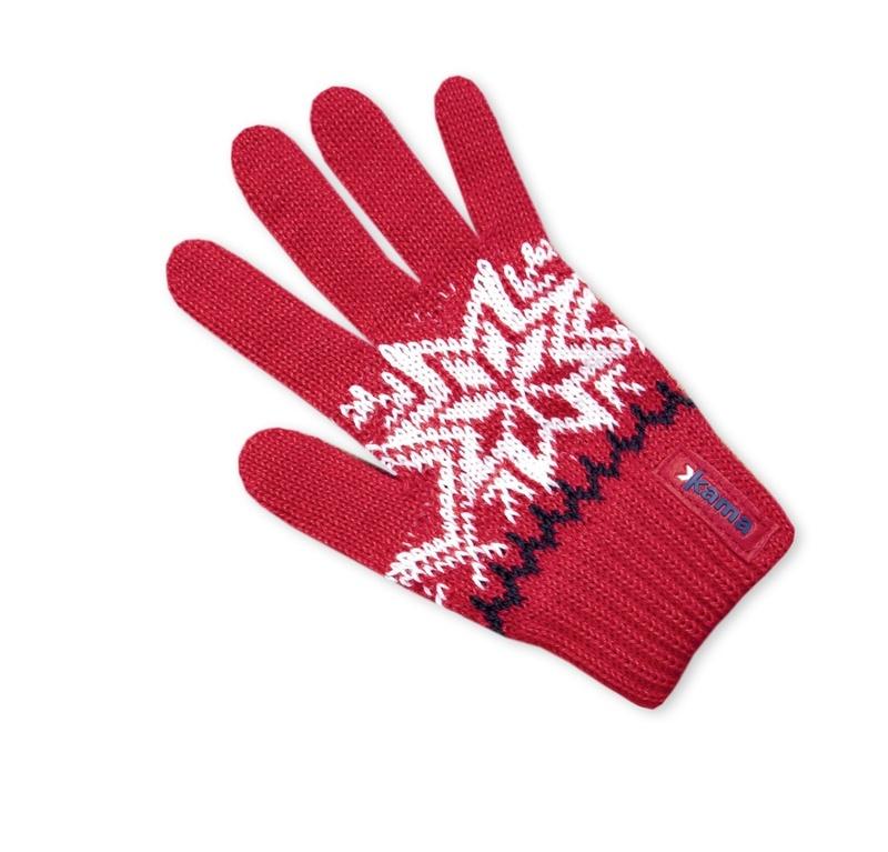 Detské pletené rukavice Kama RB10 104 červená