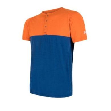 Pánske triko Sensor MERINO AIR PT s gombíky oranžová / modrá 18100005 M