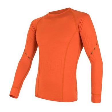Pánske triko Sensor Merino Air dl.rukáv tm.oranžová 18100002 S