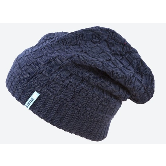 Pletená Merino čiapka Kama A123 108 tmavo modrá