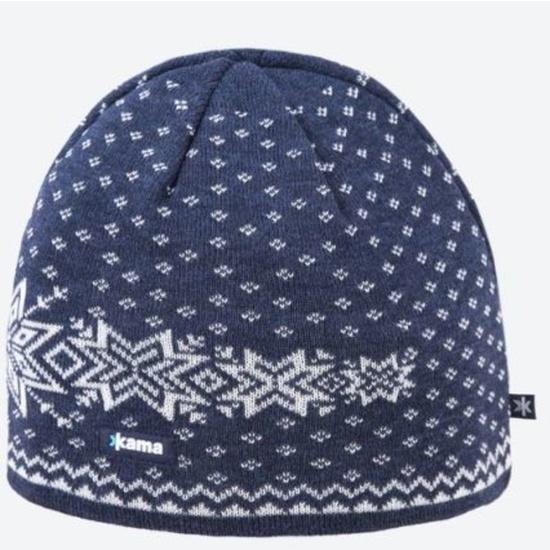 Pletená Merino čiapka Kama A128 108 tmavo modrá