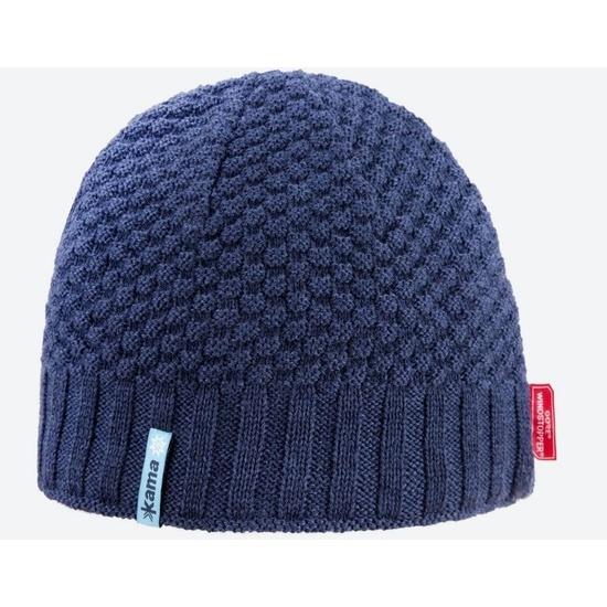 Pletená Merino čiapka Kama AW63 108 tmavo modrá