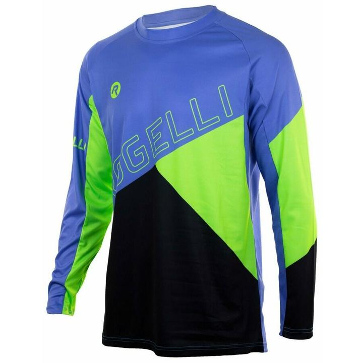 Voľný cyklistický MTB dres Rogelli ADVENTURE s dlhým rukávom a bez vreciek, modro-zelený 060.111