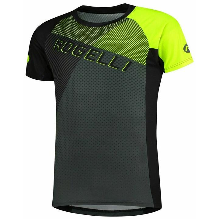 Voľný cyklistický MTB dres Rogelli ADVENTURE 2.0 s krátkym rukávom a bočné vreckom, čierno-šedo-reflexná žltý 060.112