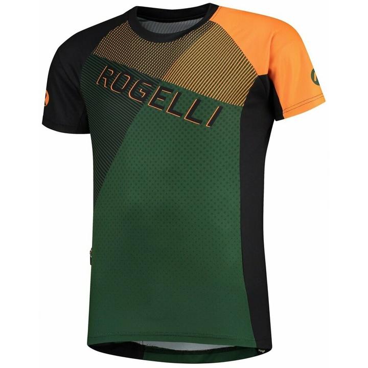 Voľný cyklistický MTB dres Rogelli ADVENTURE 2.0 s krátkym rukávom a bočné vreckom, khaki-oranžovo-čierny 060.113