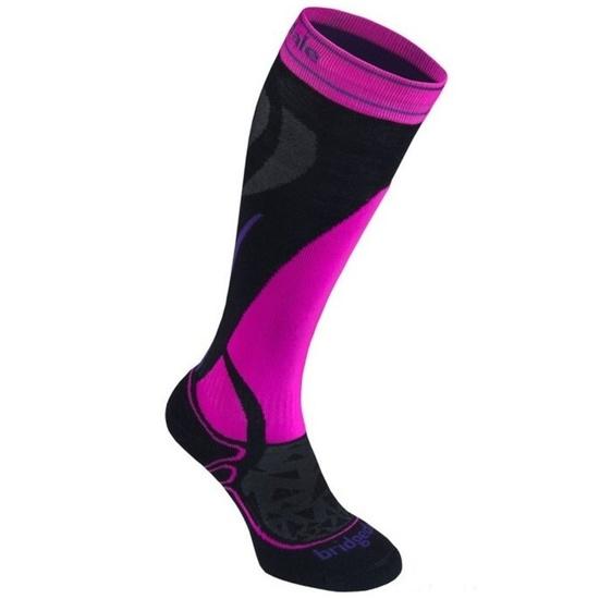 Ponožky Bridgedale Ski Midweight Women's black / fluo pink/077 L (7-8,5)