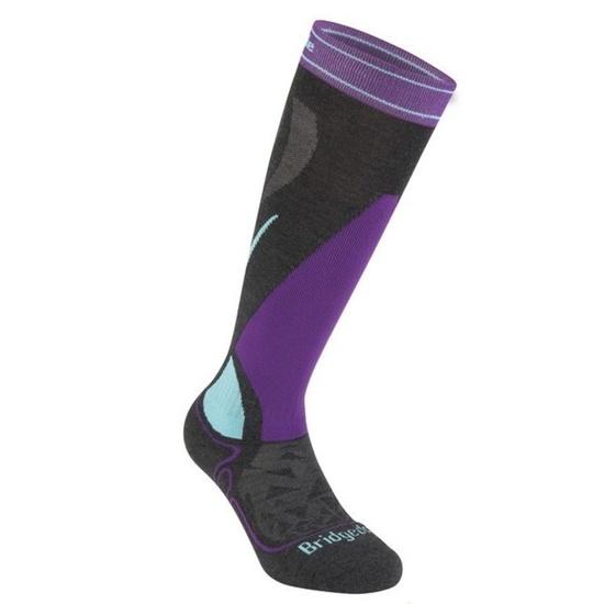 Ponožky Bridgedale Ski Midweight Women's graphite/purple/134 S (3-4,5)