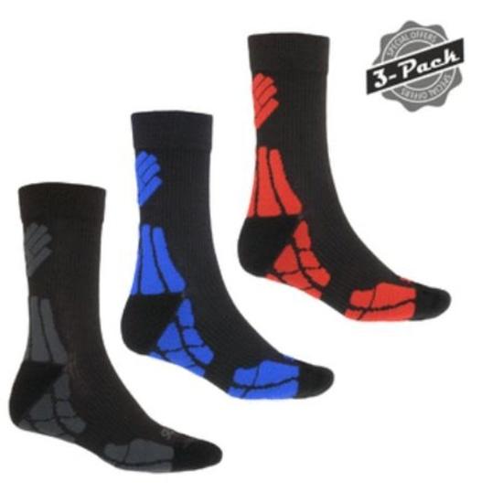 Ponožky Sensor Hiking New Merino Wool 3-PACK sivá / červená / modrá 18200063 3/5 UK