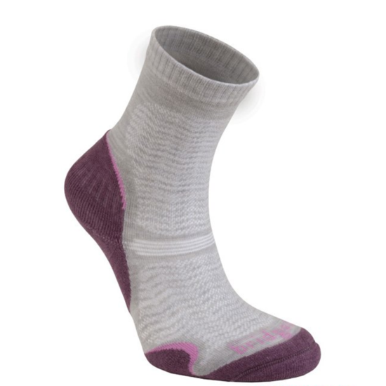 Ponožky Bridgedale Hike Ultra Light T2 Merino Performance Crew Women's aubergine/390 L (7-8,5)
