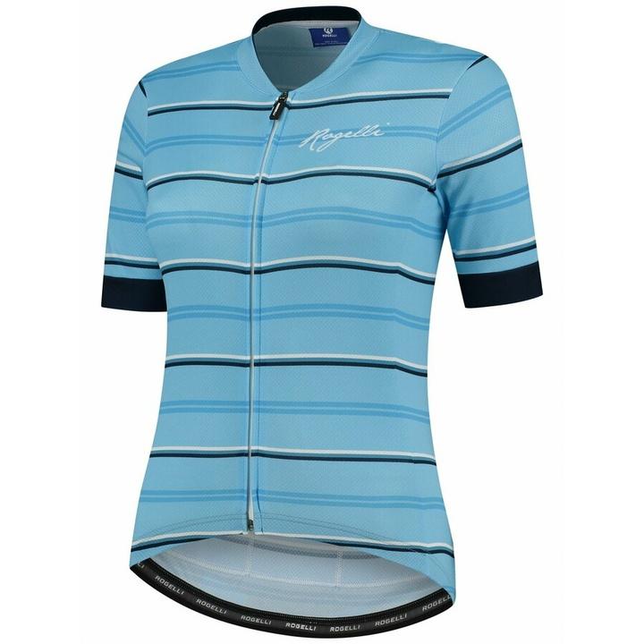 Dámsky cyklistický dres Rogelli STRIPE s krátkym rukávom, modrý 010.147
