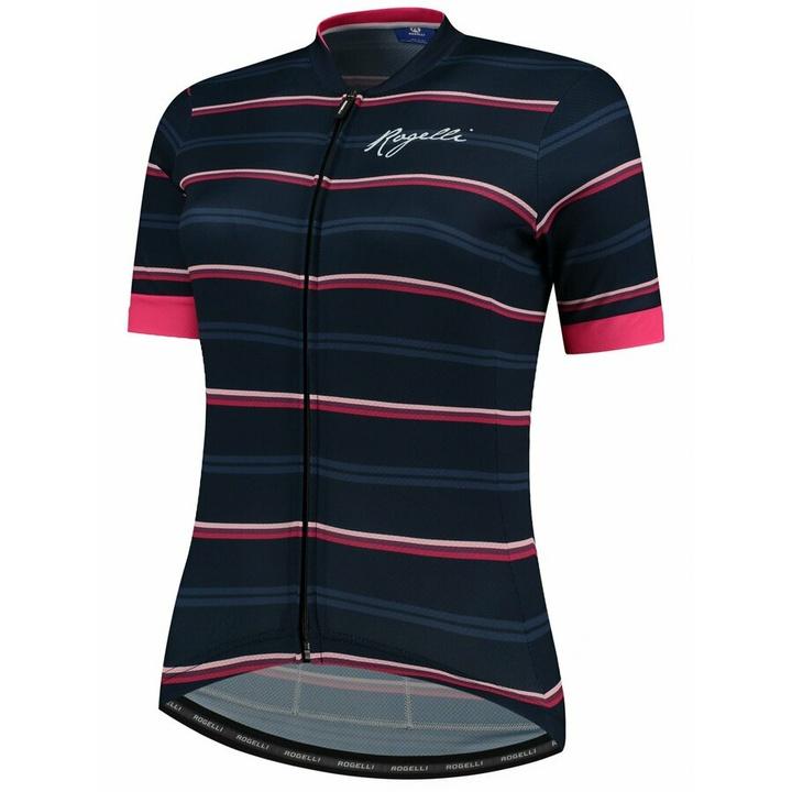 Dámsky cyklistický dres Rogelli STRIPE s krátkym rukávom, modro-ružový 010.148
