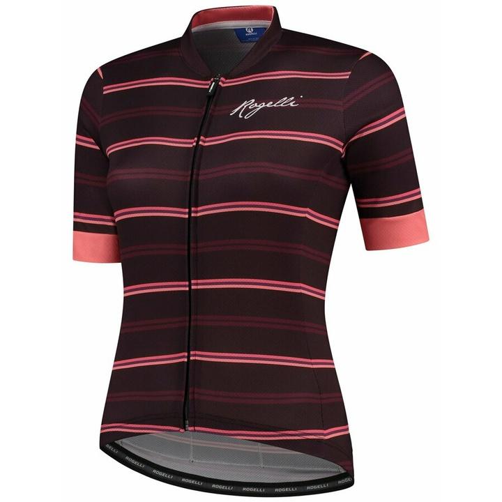 Dámsky cyklistický dres Rogelli STRIPE s krátkym rukávom, vínovo-koralový 010.149