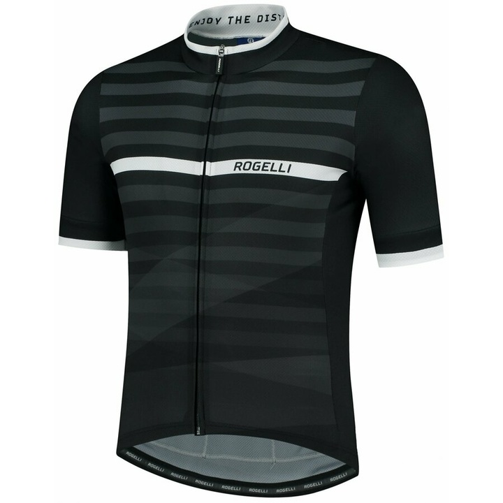 Cyklodres Rogelli STRIPE s krátkym rukávom, čierno-biely 001.100