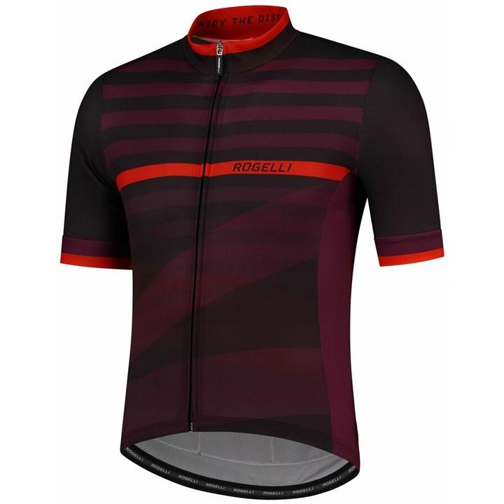 Cyklodres Rogelli STRIPE s krátkym rukávom, čierno-vínovo-červený 001.103