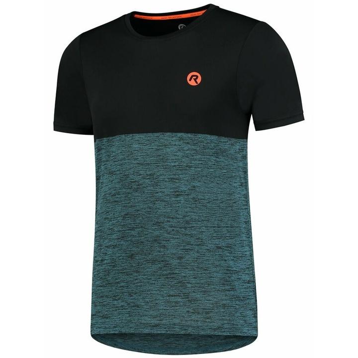 Pánske športové tričko Rogelli ESSENCE s krátkym rukávom, čierno-tyrkysové 830.246 M