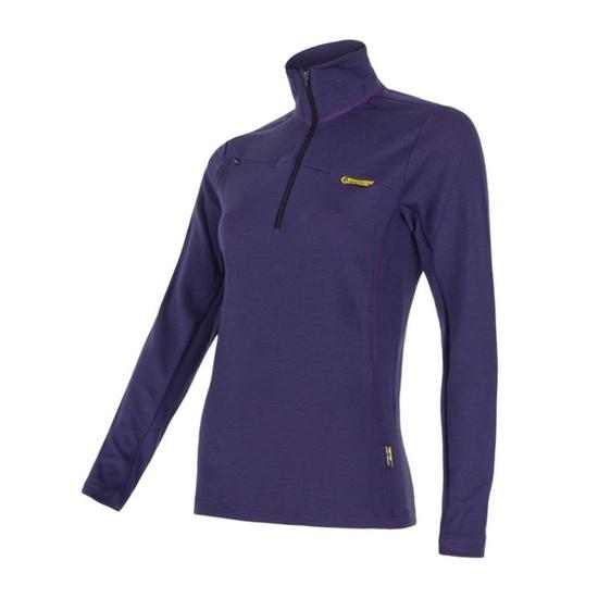 Tričko krátky zips Sensor Merino Wool fialová 14200013 S