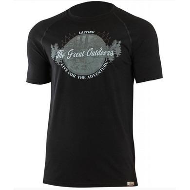Pánske vlnené triko Lasting Lucas 9090 čierna XXL