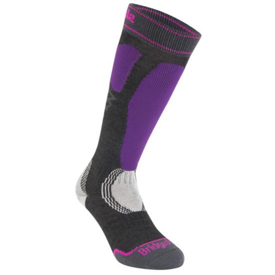 Ponožky Bridgedale Ski Easy On Women's graphite/purple/134 S (3-4,5)